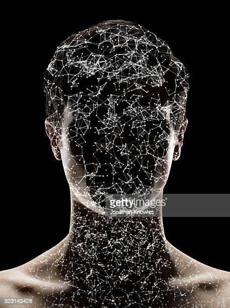 Close up of person with face covered in stars