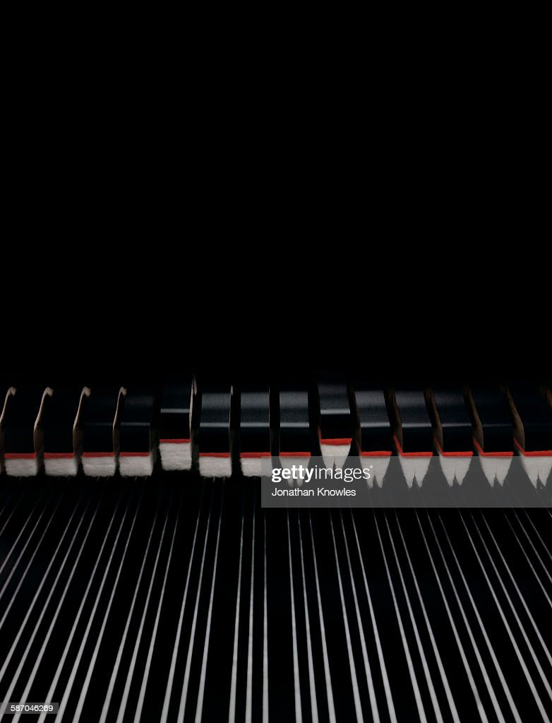 Close up of piano with strings : Stock Photo