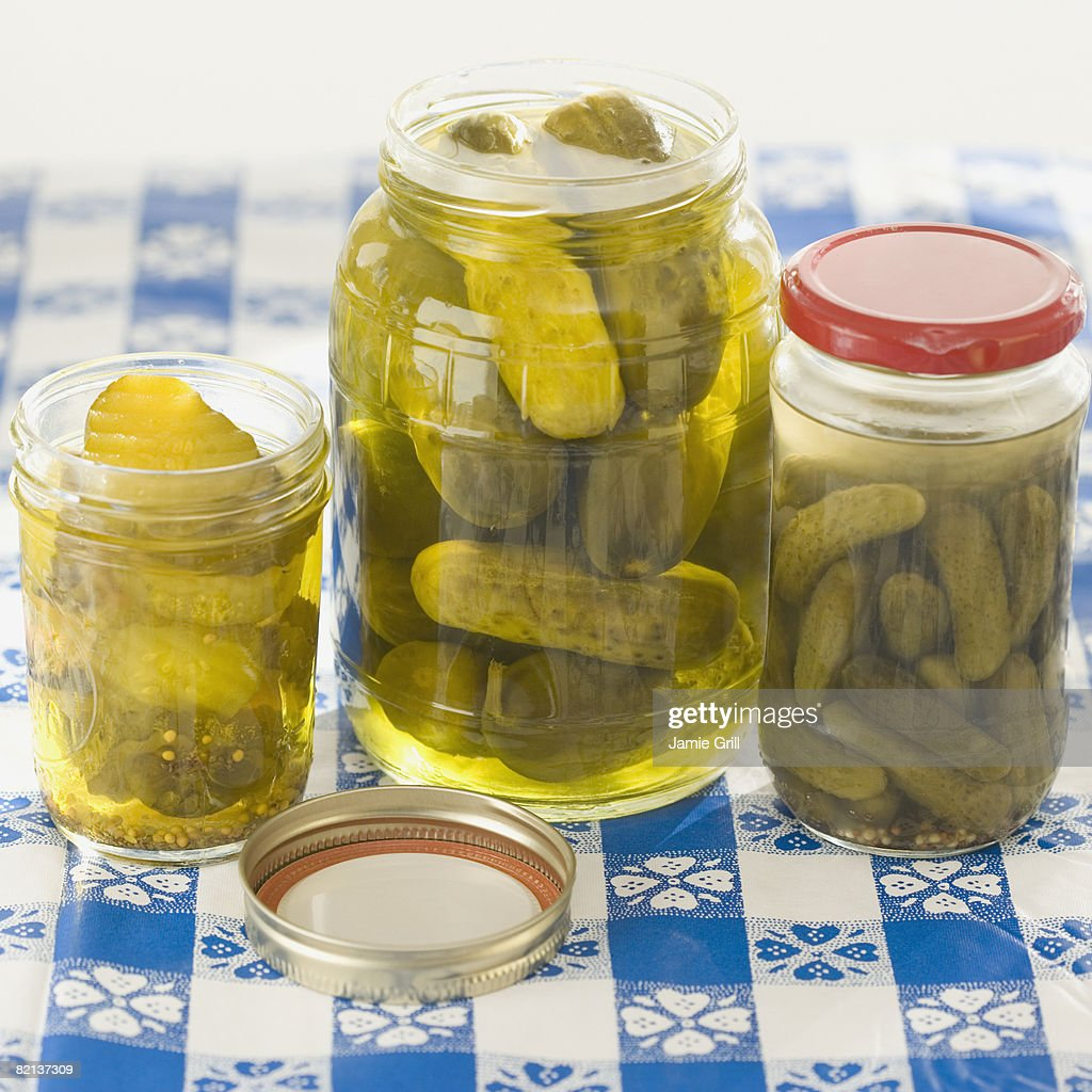 Close up of pickles in jars : Stock Photo