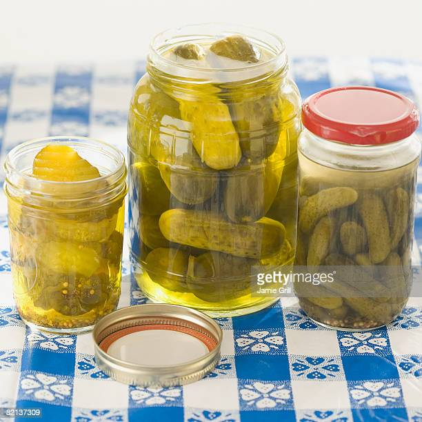 Close up of pickles in jars