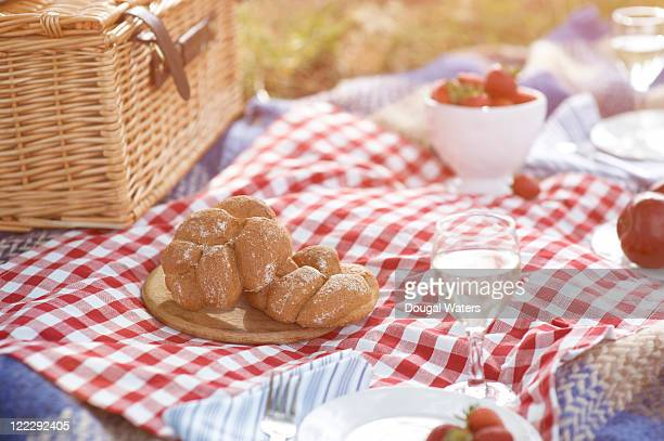 close up of picnic spread. - hamper stock pictures, royalty-free photos & images