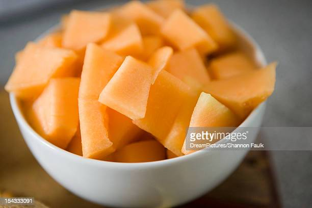 close up of pieces of cantaloupe in bowl - muskmelon stock pictures, royalty-free photos & images