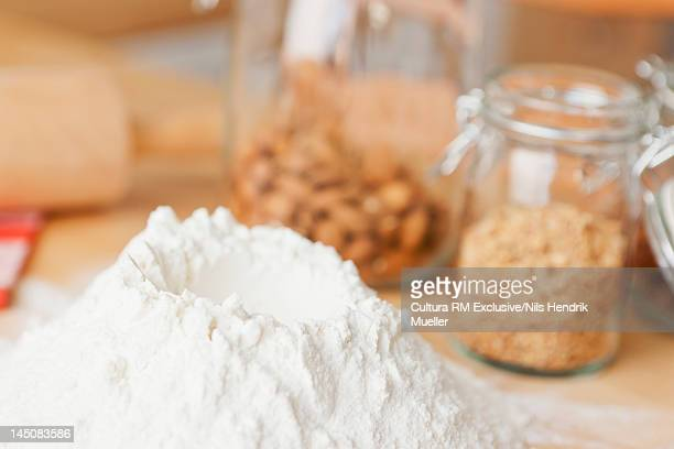 Close up of pile of flour with well