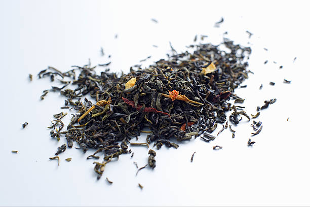 Close up of pile of tea leaves