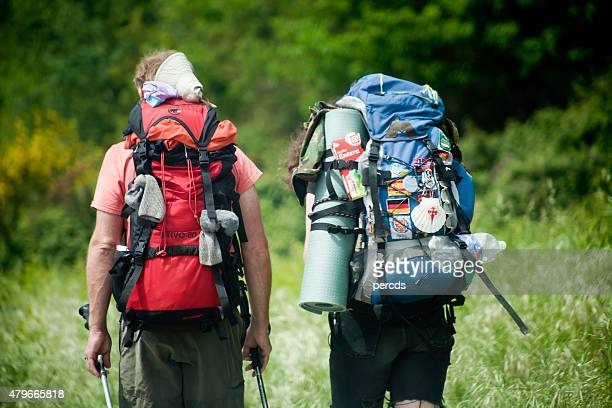 "close up of pilgrims in the ""camino de santiago"". - pilgrimage stock pictures, royalty-free photos & images"