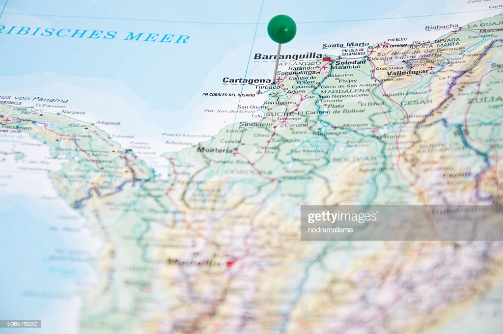Close Up of Pin on map, Cartagena, Colombia, South America. : Stock Photo