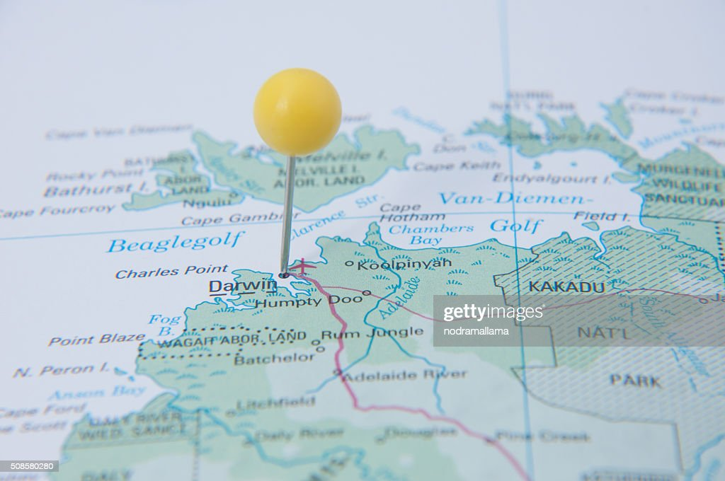 Close Up of Pin on map, Darwin, Australia. : Stock Photo