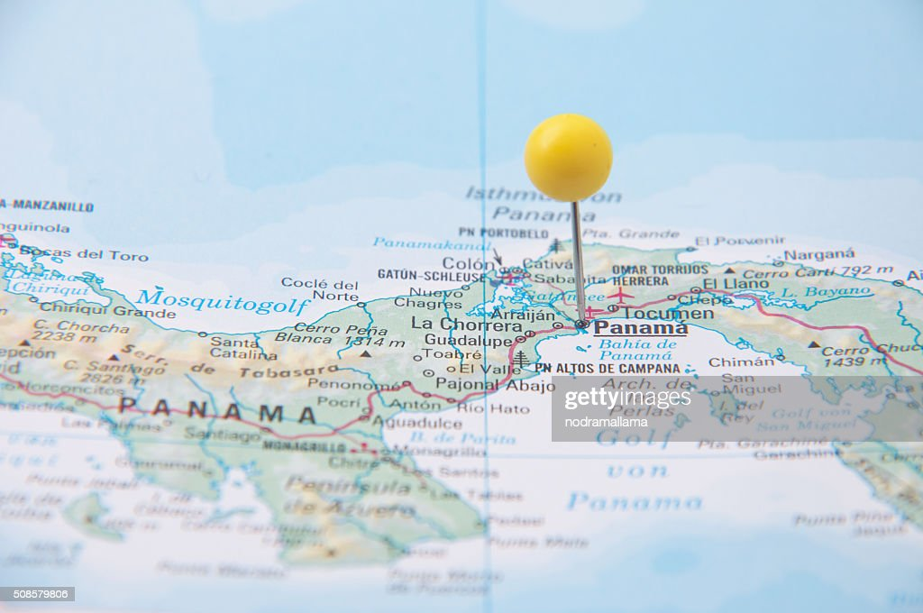 クローズアップのピン、マップの上に、パナマ、中米ます。 : ストックフォト