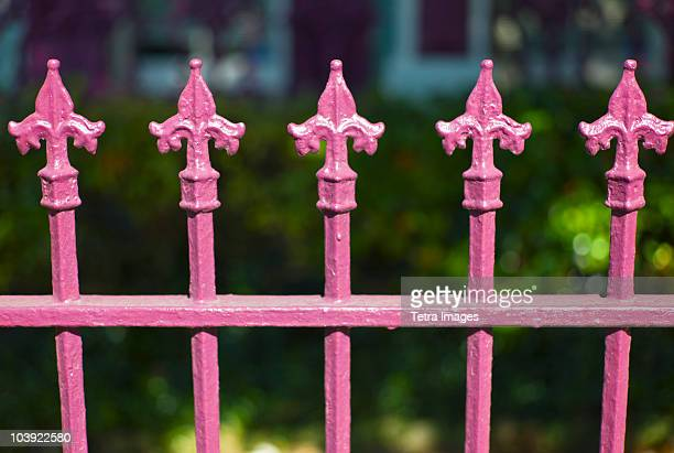 Close up of pink iron fence