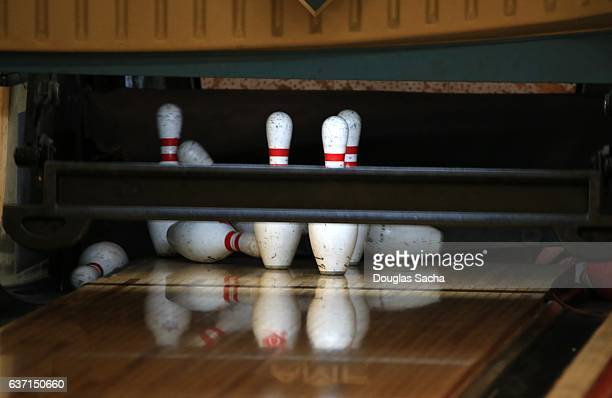 Close up of Pins at a Bowling Alley