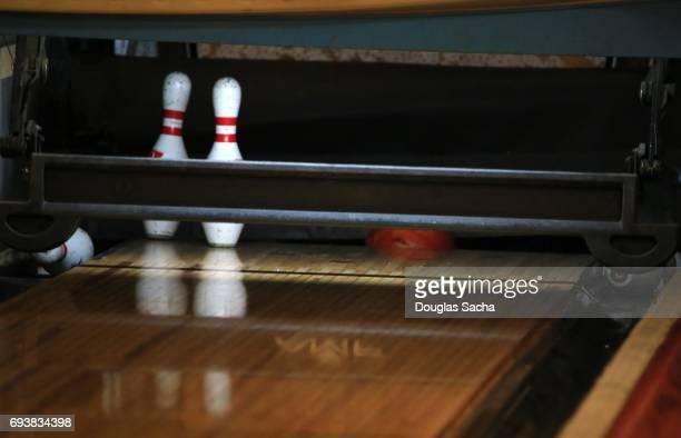 Close up of Pins at a Bowling Alley