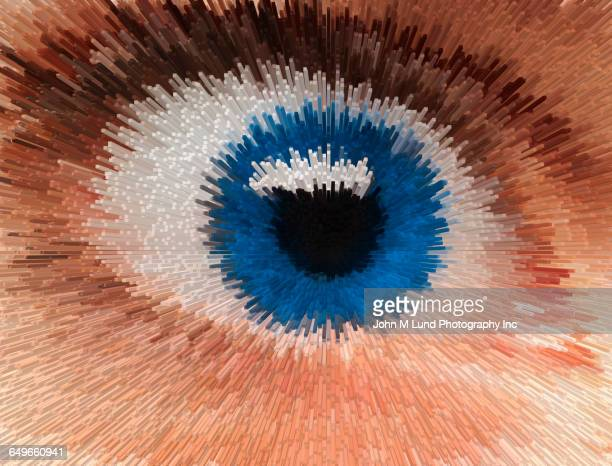 Close up of pixelated eye of mixed race woman