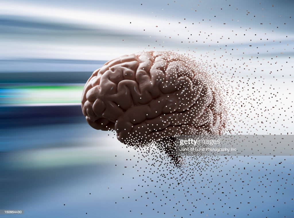 Close up of pixilated brain : Stock Photo