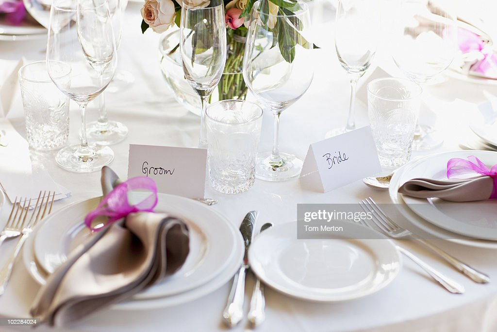 Close up of place setting at wedding reception : Stock Photo