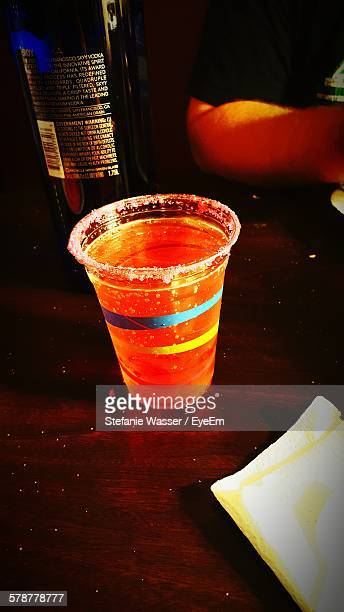 Close Up Of Plastic Cup With Drink