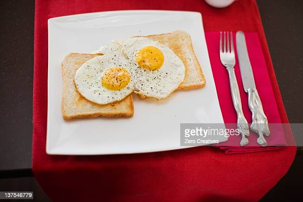 Close up of plate of eggs on toast