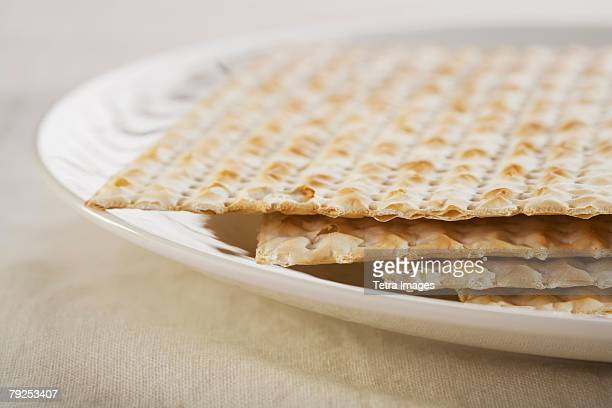 Close up of plate of Matzah
