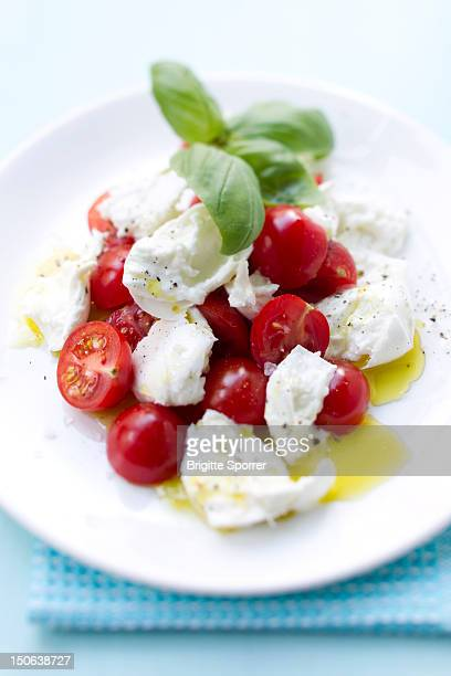 Close up of plate of tomatoes and cheese
