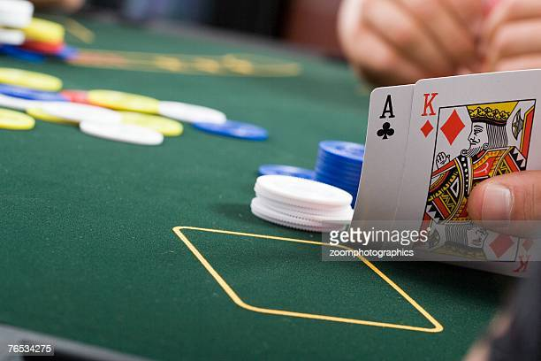 Close up of playing cards on poker table