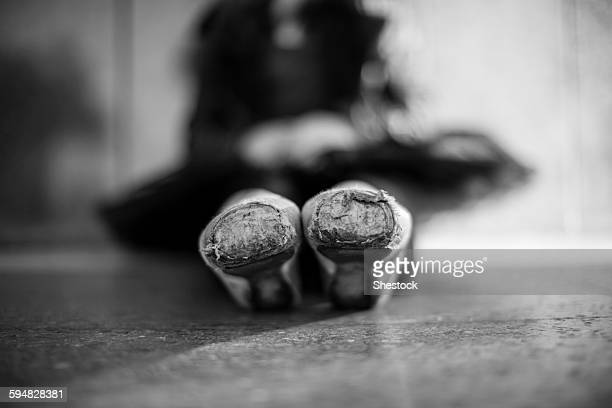 Close up of pointe shoes on ballet dancer