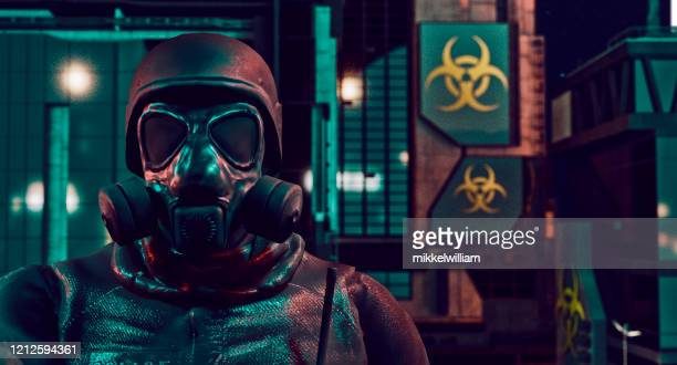 close up of policeman with face mask protecting a city full of virus - fascism stock pictures, royalty-free photos & images