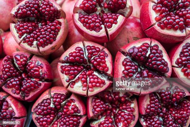close up of pomegranate - pomegranate stock pictures, royalty-free photos & images