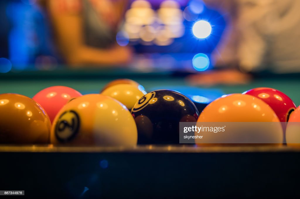 Close up of pool balls on the table. : Stock Photo