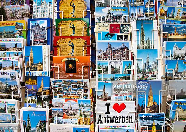 Close up of postcard display, Antwerp, Belgium