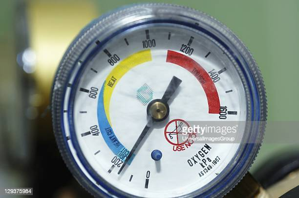 Close up of pressure meter for oxygen tank