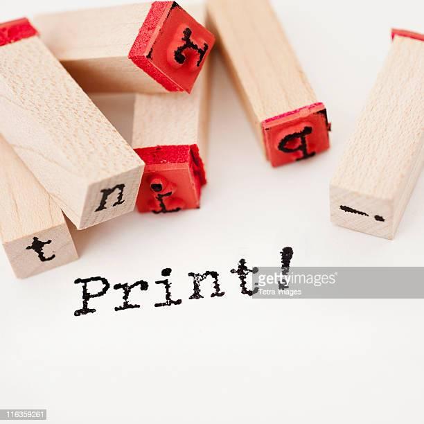 Close up of print and letterpress blocks