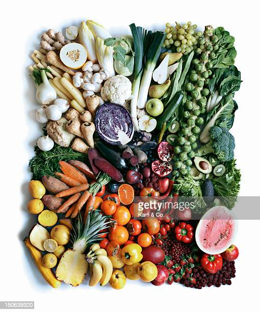 Close up of produce arranged in square