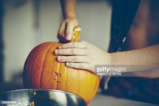 Close up of pumpkin emptied