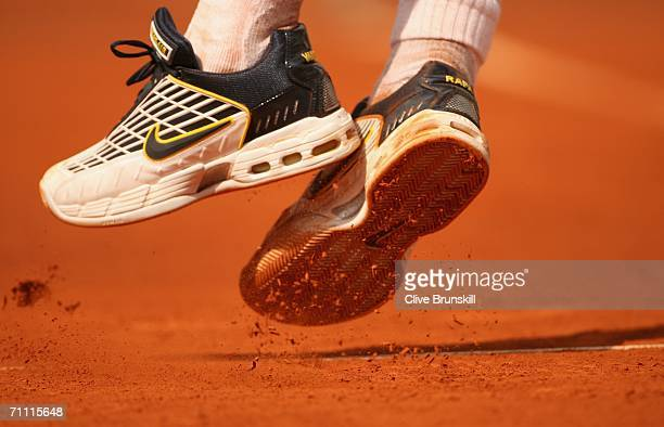 A close up of Rafael Nadal's trainers as he serves to PaulHenri Mathieu of France during day seven of the French Open at Roland Garros on June 3 2006...