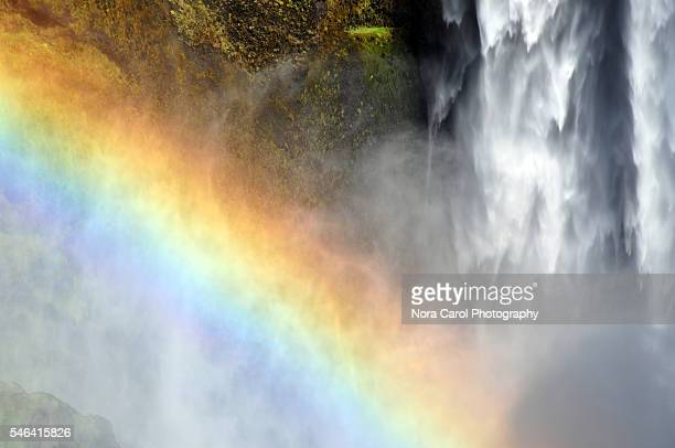 Close up of rainbow in Skogafoss waterfall in Iceland