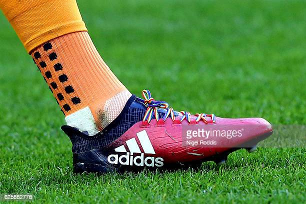 A close up of Rainbow lace prior to the Premier League match between Hull City and West Bromwich Albion at KCOM Stadium on November 26 2016 in Hull...