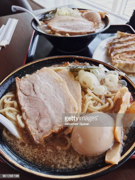 Close up of ramen noodle soup with pork and egg, Tokyo, Japan