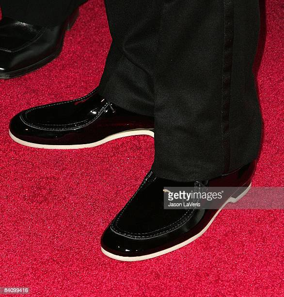 Close up of rapper Kanye West's shoes at Flaunt Magazine's 10th anniversary and annual holiday toy drive at The Wayne Kao Mansion on December 18,...