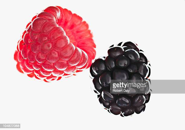 close up of raspberry and blackberry - blackberry fruit stock pictures, royalty-free photos & images