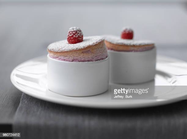 Close up of Raspberry souffle in mugs