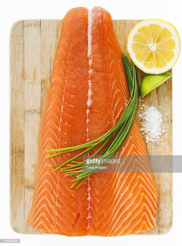 Close up of raw salmon meat, studio shot : Stock Photo