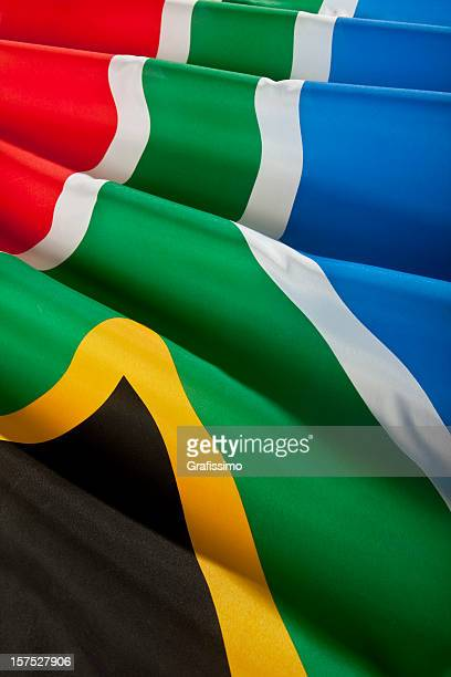 close up of real south african flag - south african flag stock photos and pictures