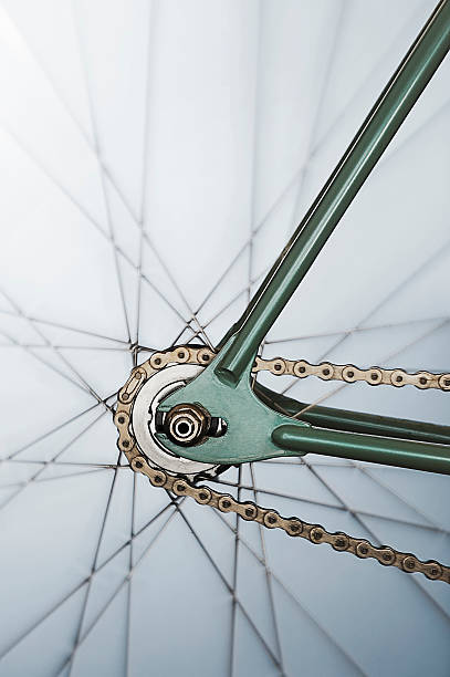 Close up of rear cog on single-speed bicycle