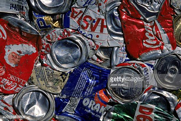 Close up of recycled cans dumped, California, USA.