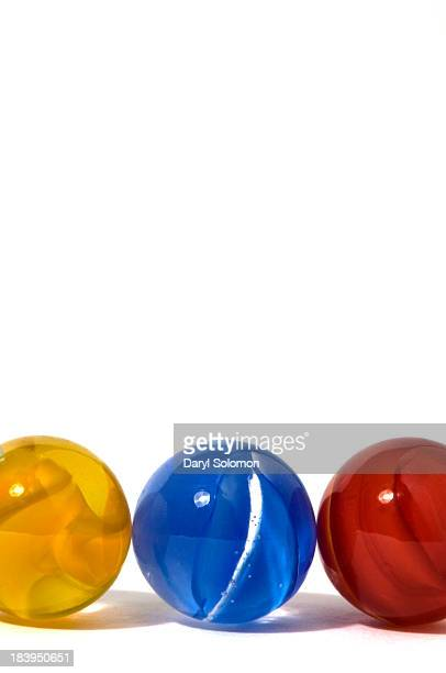 Close up of red blue and yellow marble