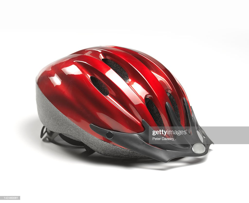 Close up of red cycle helmet : Stock Photo