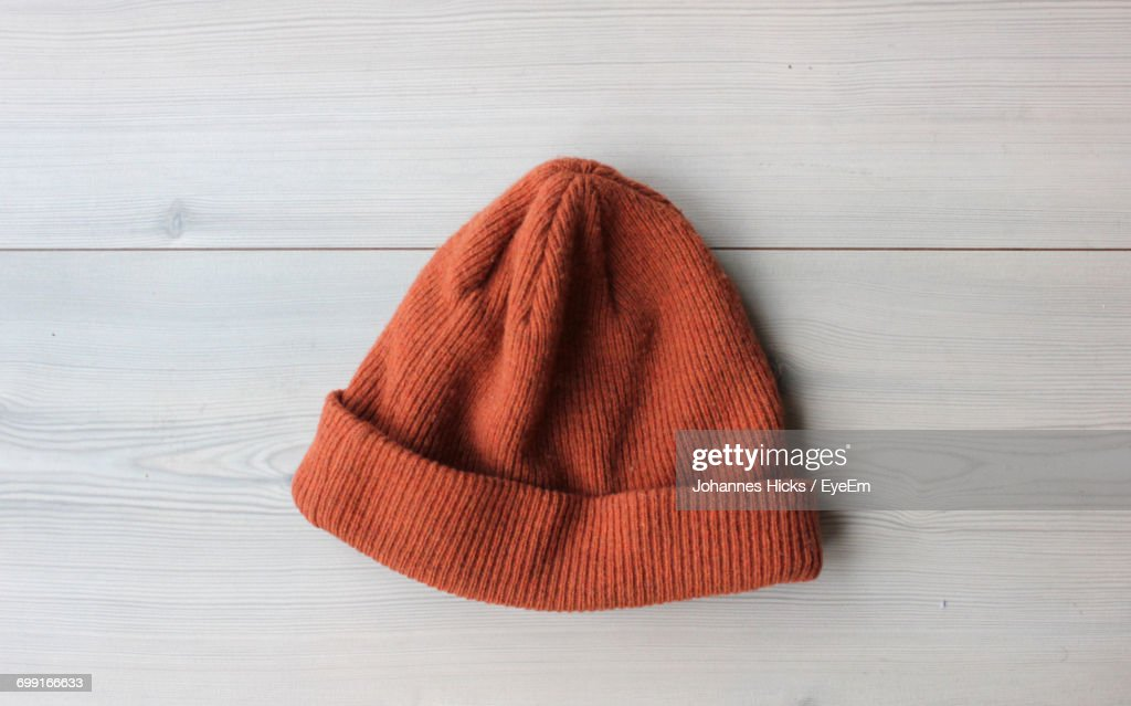 Close Up Of Red Knit Hat : Stock Photo