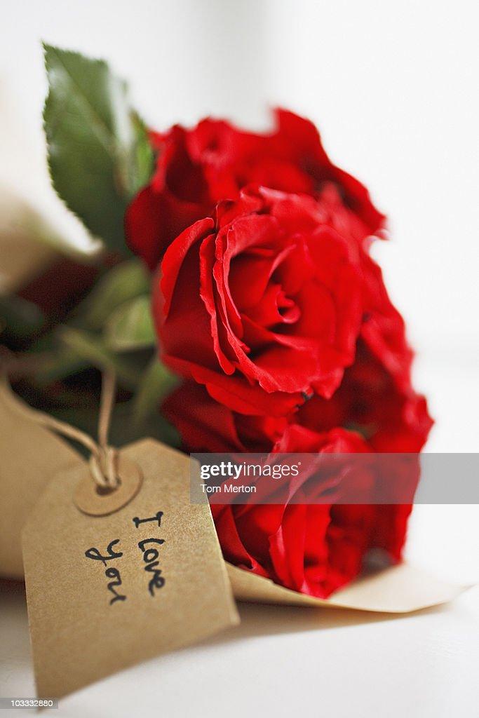 Close up of red roses con tarjeta de regalo : Foto de stock