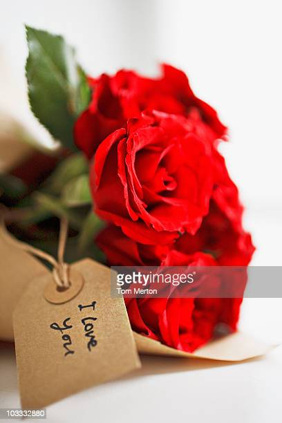 close up of red roses with gift tag - i love you stock pictures, royalty-free photos & images