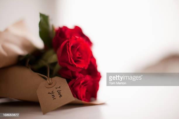 Plano aproximado de rosas vermelhas com Etiqueta de Presente