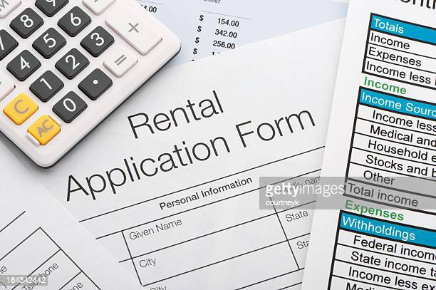 Close up of rental application